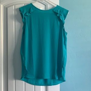 Ann Taylor Loft Light Teal Cap Sleeve Blouse XS